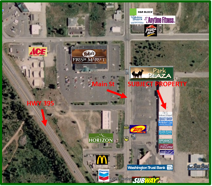 Park Plaza Shopping Center Location with Local Businesses identified